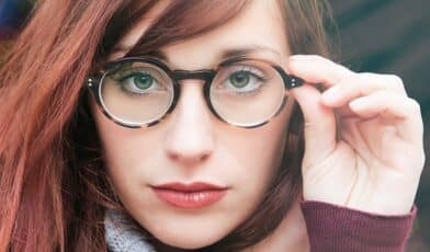 Young women with glasses